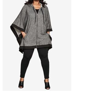 Hooded zip poncho